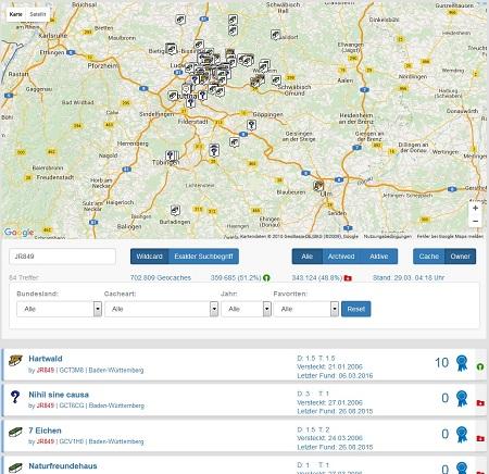 Alle Caches von JR849 in Deutschland