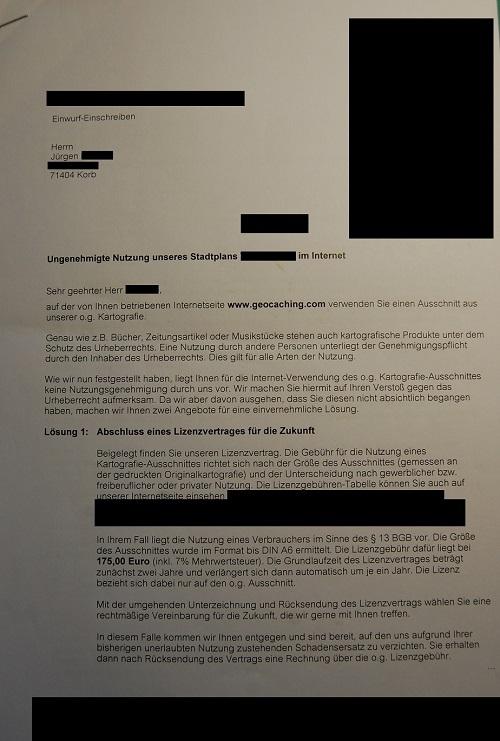 Geocaching Urheberrecht Abmahnung