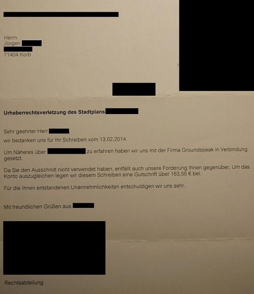 Geocaching Urheberrecht Schreiben