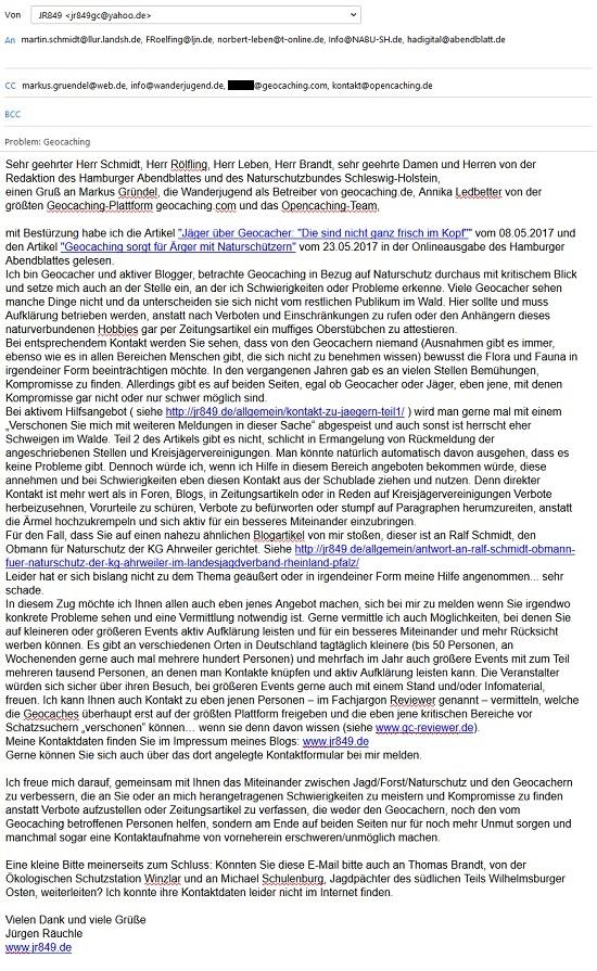 E-Mail an das Hamburger Abendblatt und die beteiligten Personen