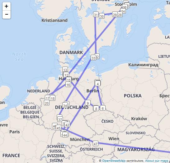 Reiseroute eines Trackables