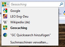 Installation der Suchleiste für geocaching.com