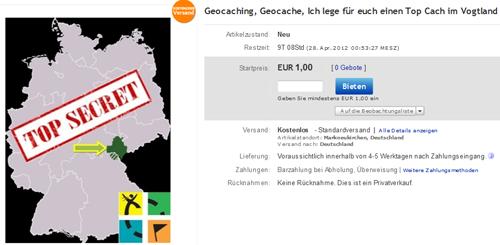 Geocache bei Ebay ersteigern