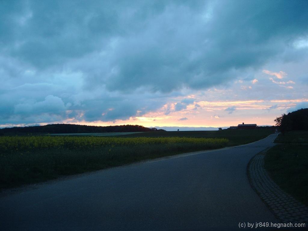 Sonnenuntergang am Ende einer Cachetour